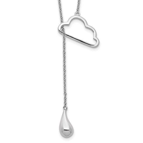 Sterling Silver Rhodium-plated Cloud w/Raindrop w/2in ext Y-Necklace