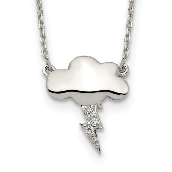 Sterling Silver Storm Cloud with CZ w/2 in ext Necklace