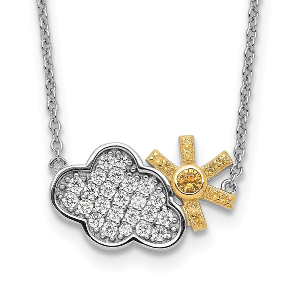 Sterling Silver Rhodium-plated Gold-tone CZ Cloud w/Sun 2in ext Necklace