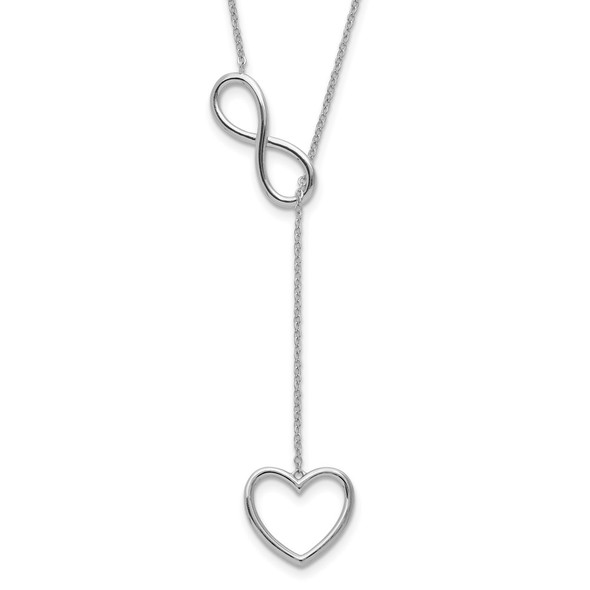 Sterling Silver Rhodium-plated Infinity Drop Heart w/2 in ext Necklace