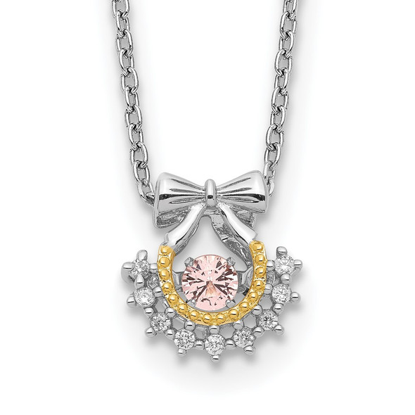 Sterling Silver Gold-tone Moving Pink CZ w/2in ext Necklace QG5523-16