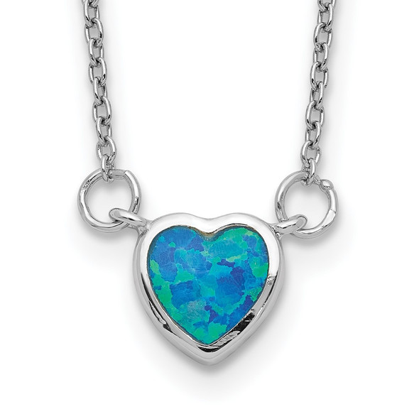 Rhodium-plated Sterling Silver Created Opal Heart w/ 4in ext. Choker Necklace