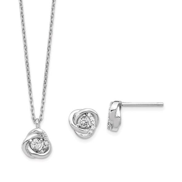 Sterling Silver Rhodium-plated CZ Love Knot Earrings w/2in ext Necklace Set