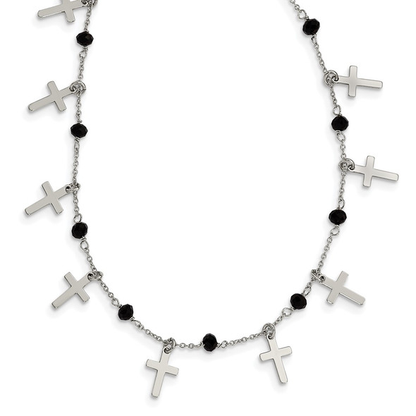 Rhodium-plated Sterling Silver Black Crystal Cross w/ 1.25in ext. Necklace