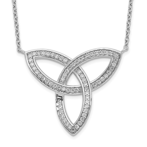 Sterling Silver Polished Rhodium-plated CZ Celtic Knot 18in Necklace