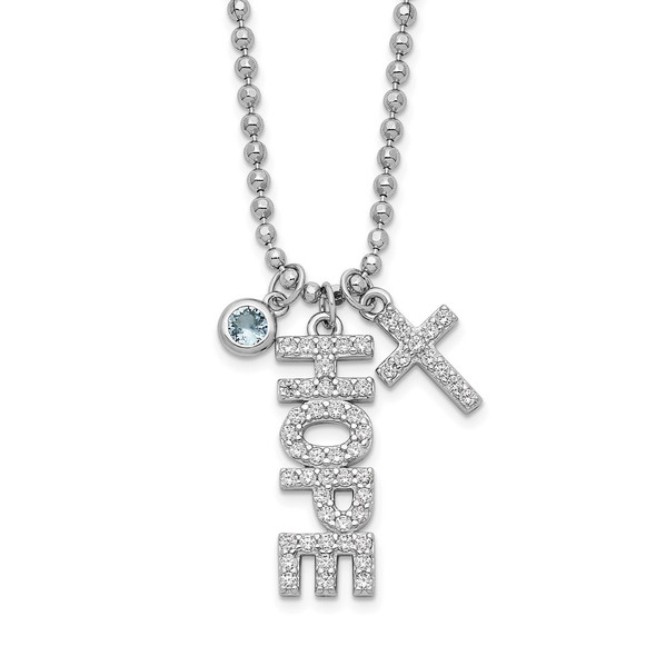 Rhodium-plated Sterling Silver CZ and Cross Diamond-cut Bead Chain Necklace