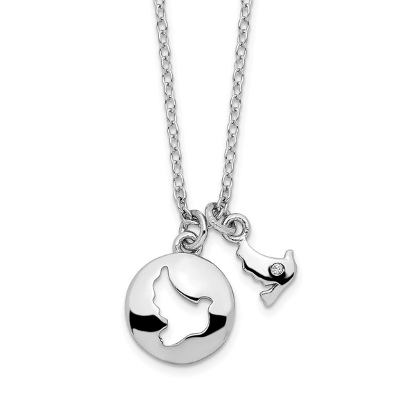 Rhodium-plated Sterling Silver CZ Cut Out Dove & Dangle Necklace