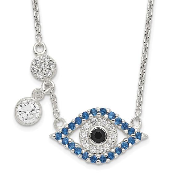 Sterling Silver Polished CZ Evil Eye Necklace