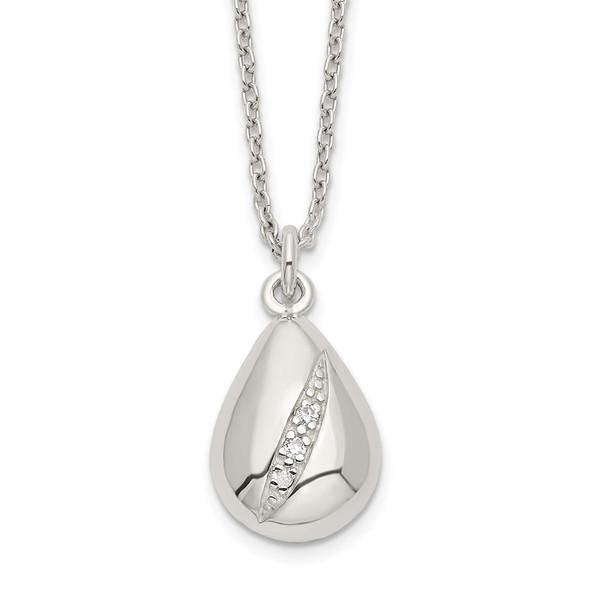 Sterling Silver CZ 16in w/2in ext Teardrop Necklace