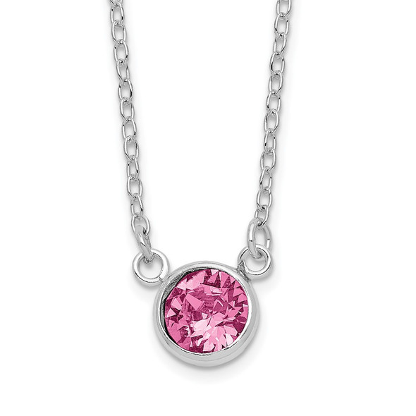 Sterling Silver Rhodium-plated Pink Crystal Bezel 18.5in Necklace