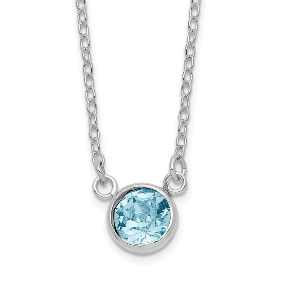 Sterling Silver Rhodium-plated Blue Crystal Bezel 18.5in Necklace