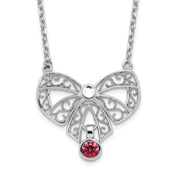 Sterling Silver Polished January Bow CZ Simulated Birthstone Necklace