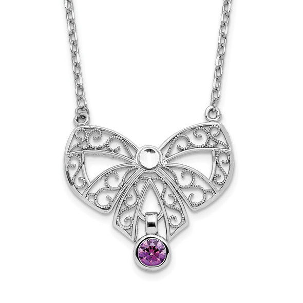 Sterling Silver Polished February Bow CZ Simulated Birthstone Necklace