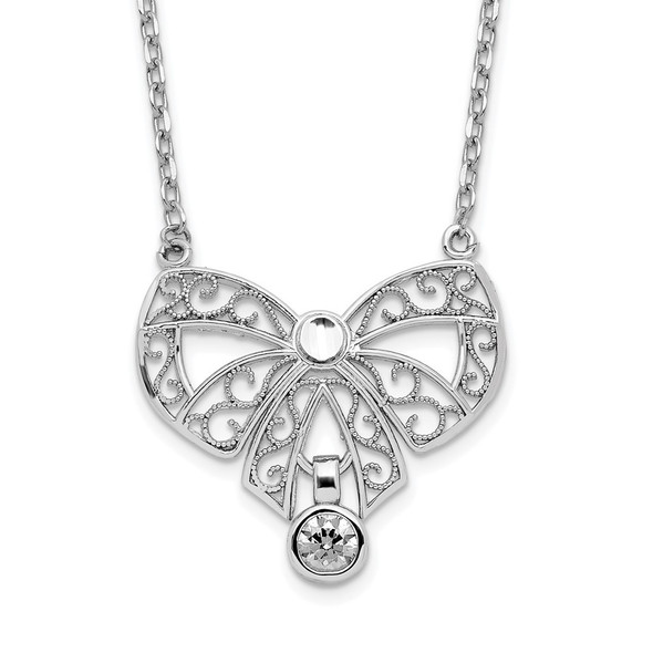 Sterling Silver Polished April Bow CZ Simulated Birthstone Necklace