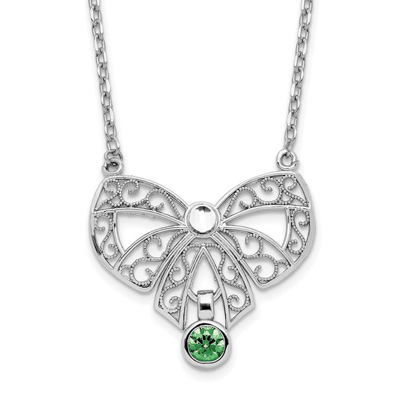 Rhodium-plated Sterling Silver Polished May Bow CZ Simulated Birthstone Necklace