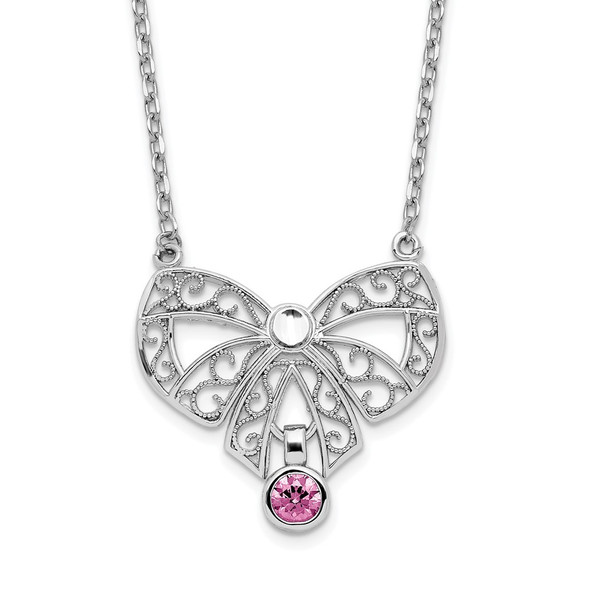 Sterling Silver Polished June Bow CZ Simulated Birthstone Necklace