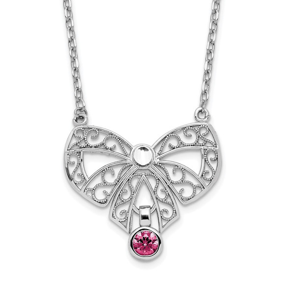 Sterling Silver Polished July Bow CZ Simulated Birthstone Necklace