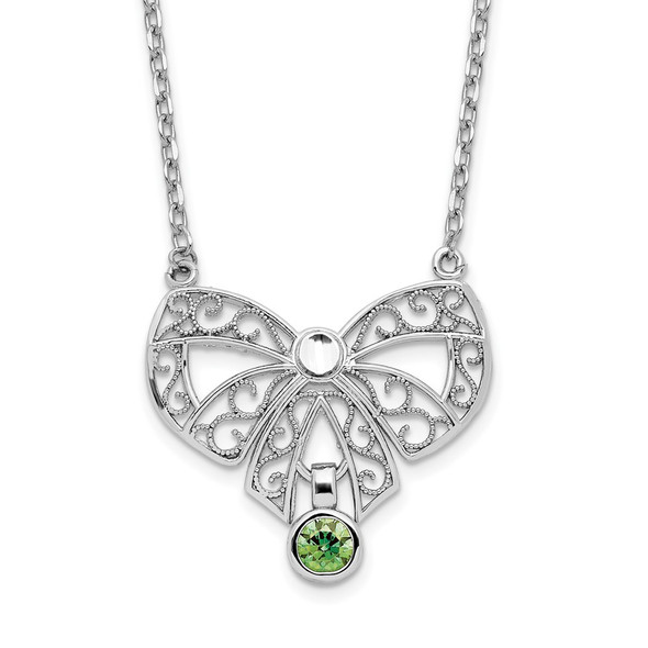 Sterling Silver Polished August Bow CZ Simulated Birthstone Necklace