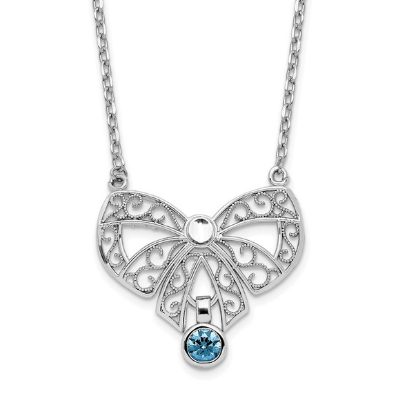 Sterling Silver Polished September Bow CZ Simulated Birthstone Necklace