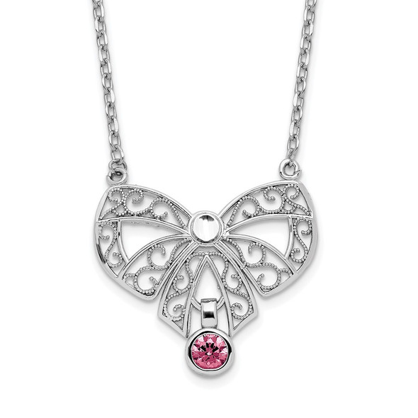 Sterling Silver Polished October Bow CZ Simulated Birthstone Necklace