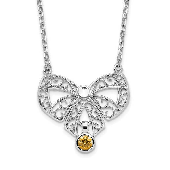 Sterling Silver Polished November Bow CZ Simulated Birthstone Necklace