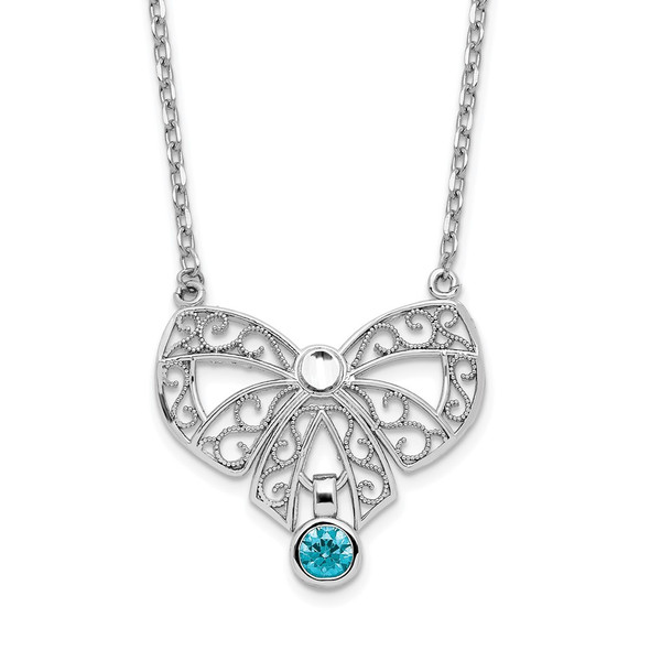 Sterling Silver Polished December Bow CZ Simulated Birthstone Necklace