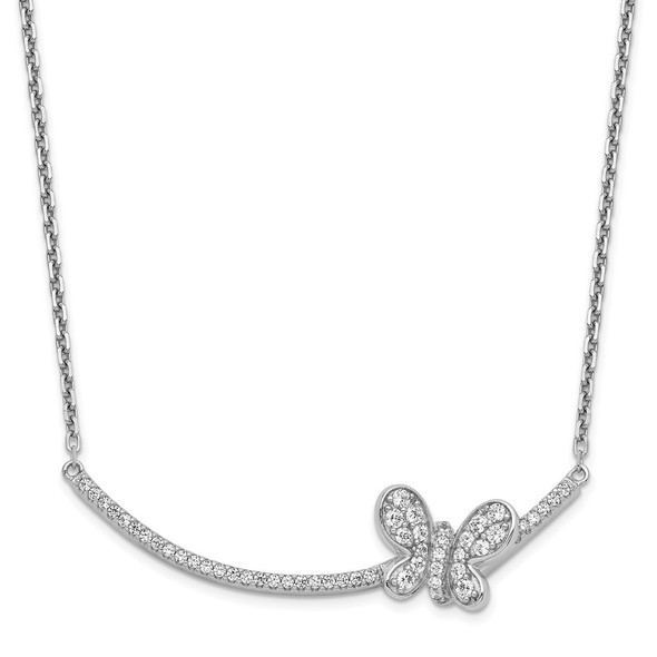 Rhodium-plated Sterling Silver CZ Butterfly Bar 2in ext Necklace