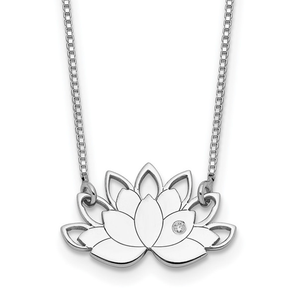 Rhodium-plated Sterling Silver CZ Lotus Flower Necklace