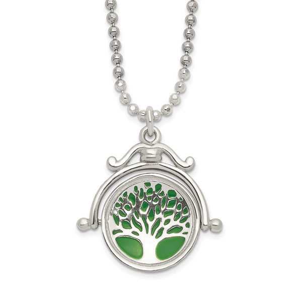 Sterling Silver Polished Reversible Enameled Tree of Life Necklace