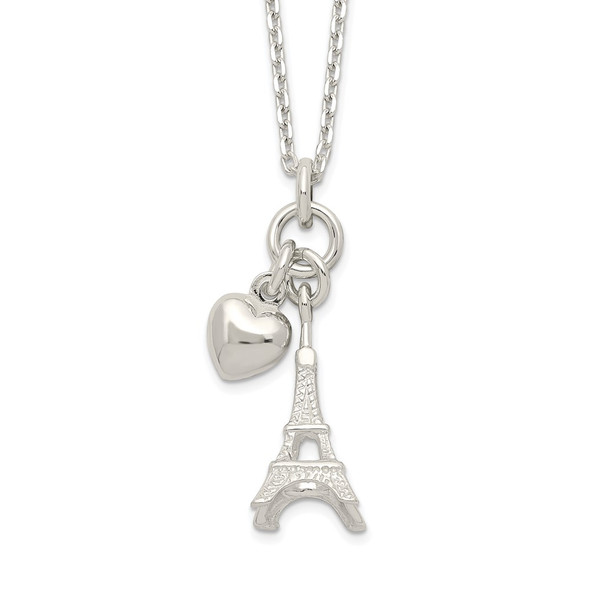 Sterling Silver Polished Eiffel Tower & Heart Necklace
