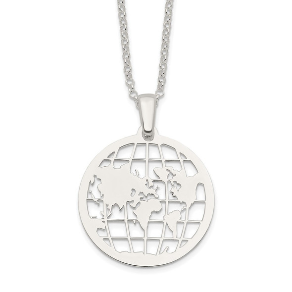 Sterling Silver Polished World w/2 in ext. Necklace