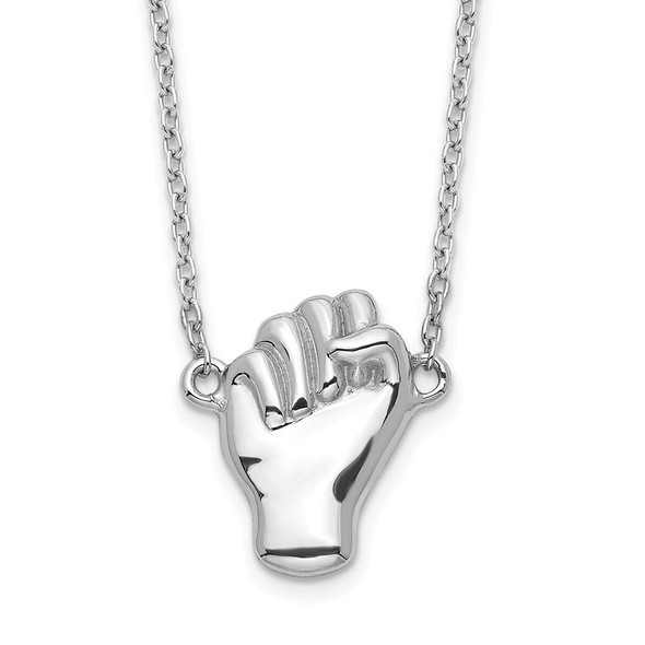 Rhodium-plated Sterling Silver Fist Necklace