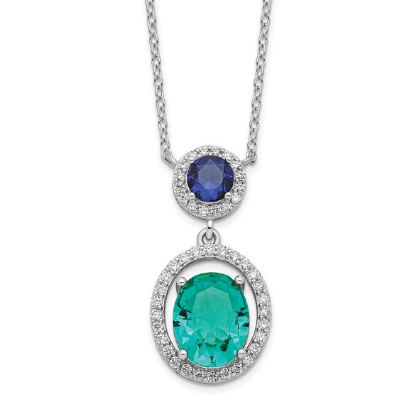 Rhodium-plated Sterling Silver CZ Glass Stone Dangle Pendant Necklace QG6159-18