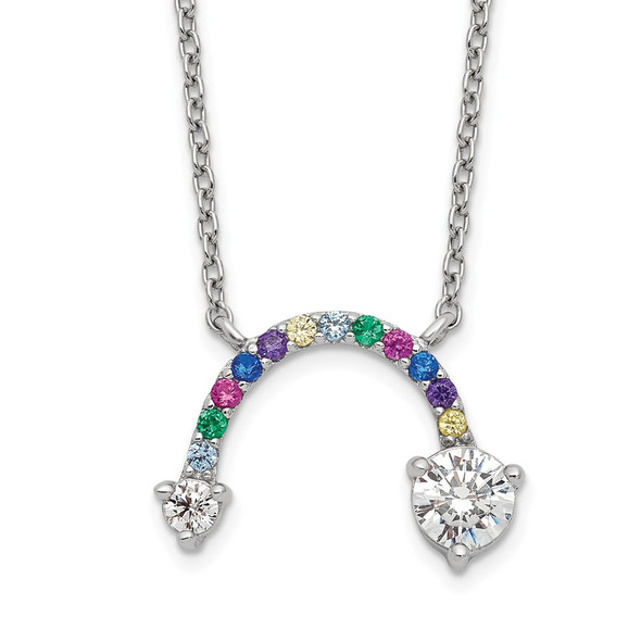 Sterling Silver Polished Rhodium Multi-color CZ Rainbow 18in Necklace