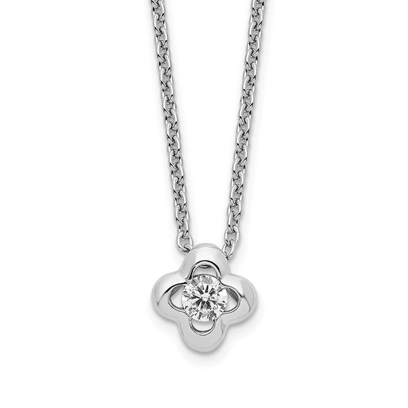 Rhodium-plated Sterling Silver Polished CZ Flower Necklace