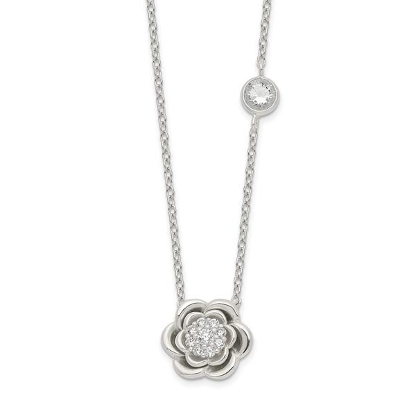 Sterling Silver Polished Floral CZ Necklace