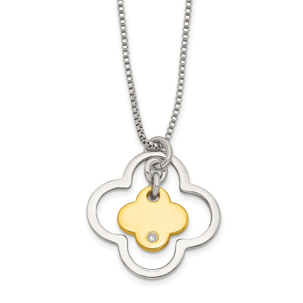 Sterling Silver Gold-tone CZ Floral Necklace