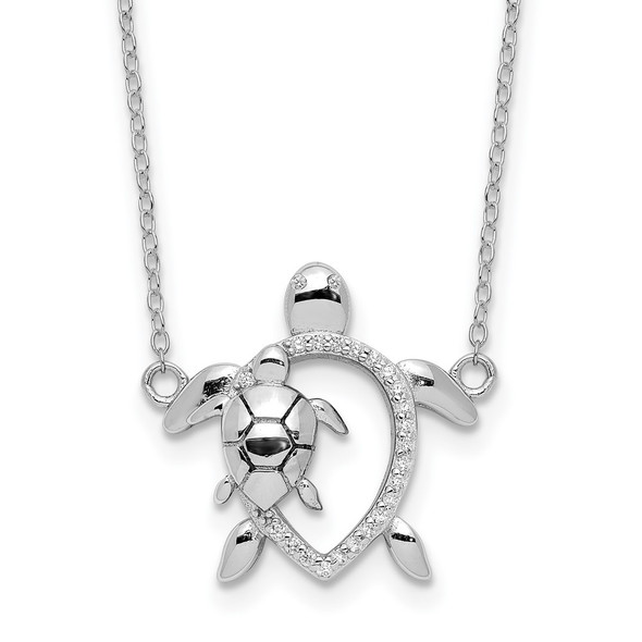 Rhodium-plated Sterling Silver Polished CZ Turtles w/2 in ext. Necklace