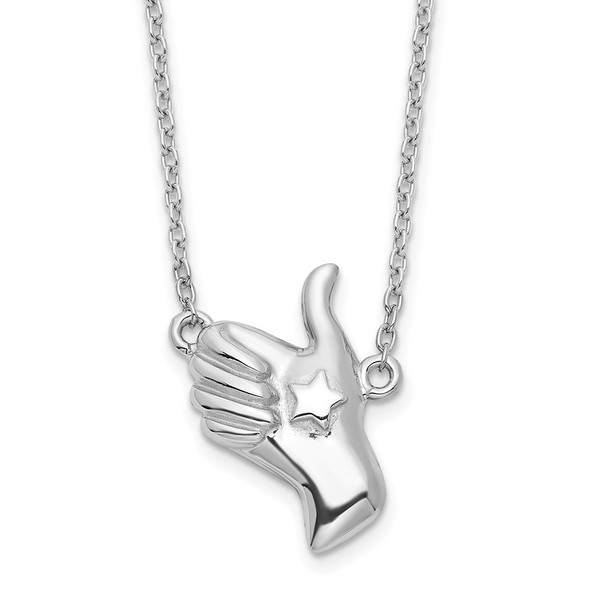 Rhodium-plated Sterling Silver Thumbs Up Necklace