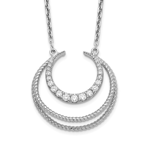 Rhodium-plated Sterling Silver CZ Fancy w/2in ext Necklace