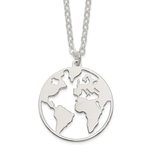Sterling Silver Polished/Satin World w/.75 in ext Necklace