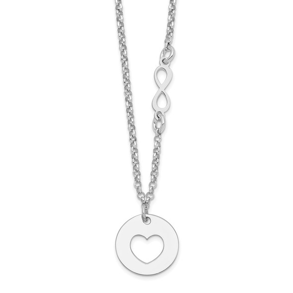 Rhodium-plated Sterling Silver Heart and Infinity w/1 in Ext Necklace