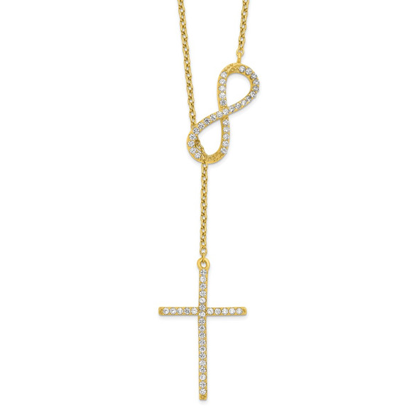 Sterling Silver Polished Gold-tone CZ Cross/Infinity Symbol 18in Necklace