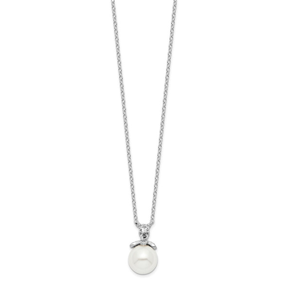 Rhodium-plated Sterling Silver CZ and Glass Bead Necklace QH5656-18