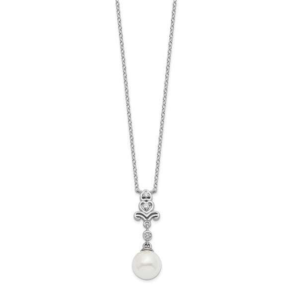 Rhodium-plated Sterling Silver CZ and Glass Bead Necklace QH5657-18