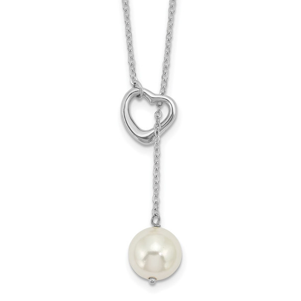 Sterling Silver Rhodium-plated Simulated Pearl Heart 2-Piece Necklace
