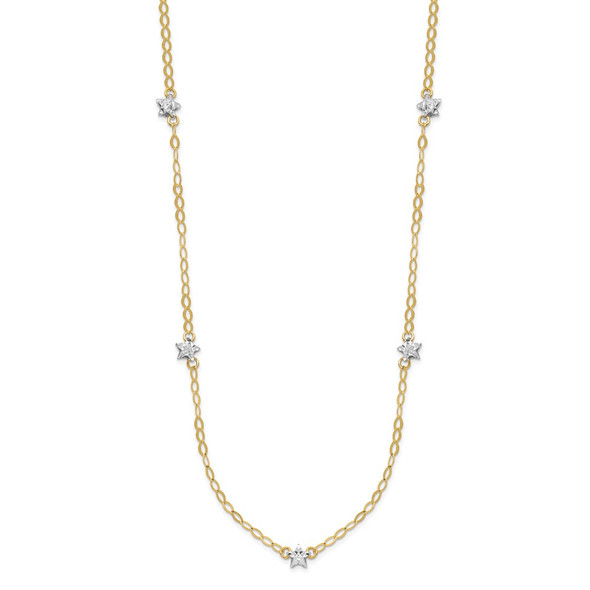 14K Two-tone Gold Oval Chain Diamond-Cut Stars w/ 2in Ext Necklace