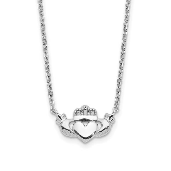 14k White Gold Polished Claddagh Necklace