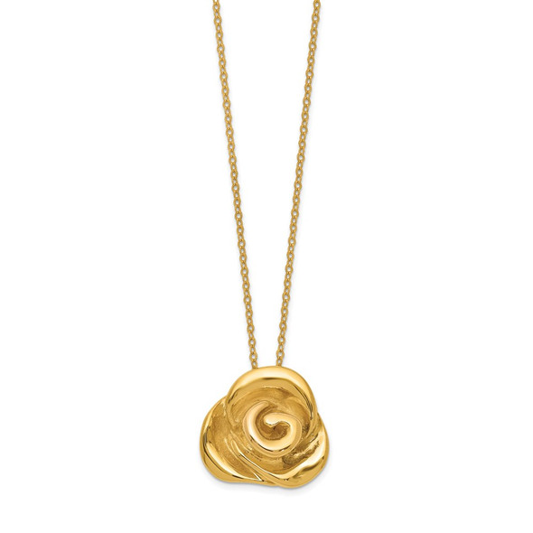 14k Yellow Gold Polished Puffed Rose 18in Necklace