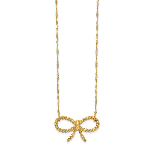 14k Yellow Gold Polished Bow 16.5 inch Necklace
